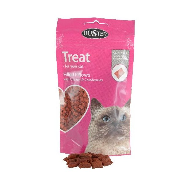 Buster Cat Treat Filled Pillows, chicken/Cranberries
