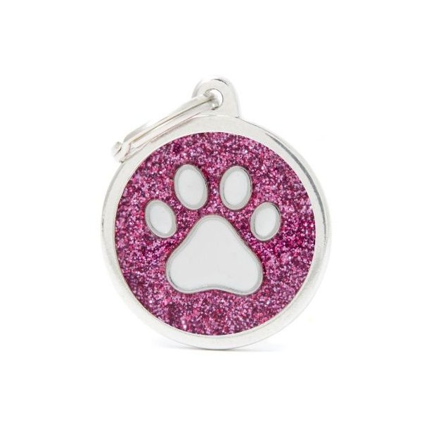 Hundetegn Shine Glitter Paw Big circle pink